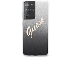 Guess TPU Vintage hátlap tok Samsung Galaxy S21 Ultra-hoz, fekete színátmenet - Mobiltelefon hátlap