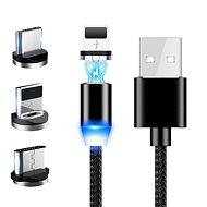 Hishell 3in1 mágneses adatátviteli és gyors töltőkábel 3A (USB-C + Lightning + Micro USB) fekete - Adatkábel