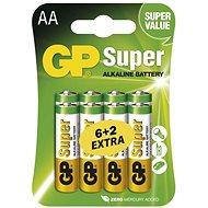 Eldobható elem GP Super alkáli LR6 (AA) 6 + 2 db bliszter - Jednorázová baterie