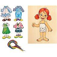 Készségfejlesztő játék Woody Fűzős lány-öltöztető