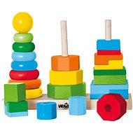 Készségfejlesztő játék Woody összecsukható torony - Didaktická hračka