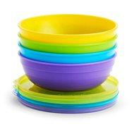 Munchkin - színes tálak fedéllel és kanállal - Gyerek étkészlet
