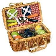 Piknik kosár színes kerámia edényekkel - Játék szett