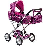 Bino Nagy babakocsi rózsaszín/fekete táskával - Játék babakocsi