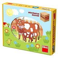 Dino fa képkirakó kockajáték - háziállatok - Mesekocka