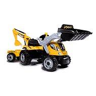 smoby Builder Max pedálos traktor kotrókanállal és pótkocsival - Pedálos traktor