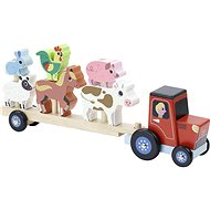 Vilac Fa traktor egymásra rakható állatokkal - Fajáték