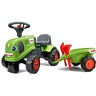 Kipufogó traktor Claas zöld, kormánykerékkel és platóval - Futóbicikli