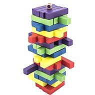 Játék fa torony 60 db színes puzzle társasjáték - Társasjáték
