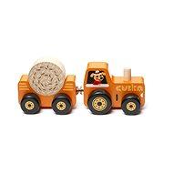 Fajáték Cubika 15351 Traktor utánfutóval - fa kirakós játék mágnessel, 3 rész - Dřevěná hračka