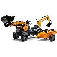 Case Constraction 580 Super N Pedálos traktor narancssárga első és hátsó markoló kanállal és platóva - Pedálos traktor