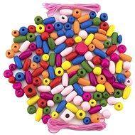 Gyöngy Teddies Fa gyöngyök színes gumiszalaggal kb. 90 db műanyag dobozban