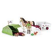 Figura Schleich Sarah lóval és állatokkal, kempingezés