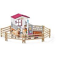 Schleich Istálló arab telivérrel és lovassal - Játékszett