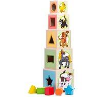 Woody Állatos Torony 5 kockából - Építőjáték
