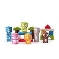 Fa játékkockák Woody színes mintás kockák 26 db