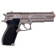 Rendőrségi pisztoly ezüst matt fém 8 lövés - Játékfegyver