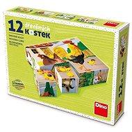 Fa játékkockák Dino Háziállatok 12 kocka - Dřevěné kostky