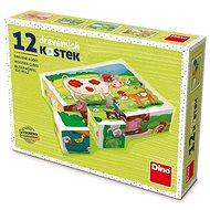 Fa játékkockák Dino A farmon 12 kocka