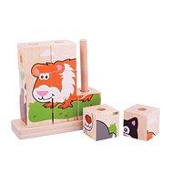 Fa játékkockák Bigjigs Baby Kirakós kockák - kisállatok - Dřevěné kostky
