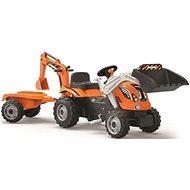 Smoby Builder Max traktor kotróval és pótkocsival - Pedálos traktor