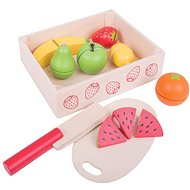 Bigjigs gyümölcs szeletelő készlet dobozban - Játék szett