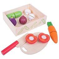 Játék szett Bigjigs zöldség szeletelő készlet dobozban - Herní set