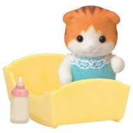 Sylvanian Families Maple Cat Baby in Cradle - Játék szett