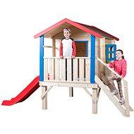 Woody Garden ház egy leszállással, egy korláttal és egy csúszdával - Játék ház