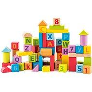 Woody Pasztell Építőkockák betűkkel és számokkal - Fa játékkockák