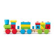 Woody építhető fa kisvonat - két kocsival - Vonat