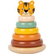 Fajáték Small Foot Safari Toronyépítő - Tigris - Dřevěná hračka