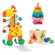Fajáték Fa oktatókészlet 3 az 1-ben - zsiráf gyöngyös labirintussal - Dřevěná hračka