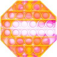 Pop it - nyolcszög, 12,5 cm narancsszín-lila - Társasjáték
