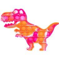 Pop it - dinoszaurusz, 19x14 cm narancsszín-rózsaszín - Társasjáték