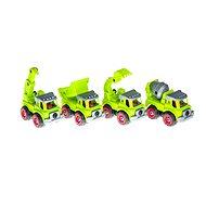 4 darabos építőipari jármű készlet szerszámokkal 33x23,5x7,5 cm