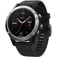 Garmin Fenix 5 Silver Optic Black Band - Sportóra