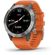 Garmin Fenix 6 Sapphire, Titanium/Orange Band (MAP/Music) - Sportóra