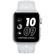 Apple Watch Series 2 Nike+ 42 mm-es ezüst alumíniumtok, platinaszín–fehér Nike sportszíj - Okosóra