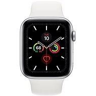 Apple Watch Series 5 44mm, ezüstszínű alumíniumtok fehér sportszíjjal - Okosóra