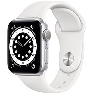 Apple Watch Series 6 40 mm ezüst alumínium, fehér sport szíjjal - Okosóra