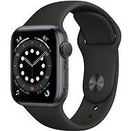 Apple Watch Series 6 40 mm űrszürke alumínium, fekete sport szíjjal - Okosóra