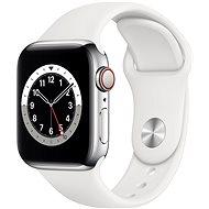 Apple Watch Series 6 40mm Cellular Ezüstszínű rozsdamentes acél tok fehér sportszíjjal - Okosóra