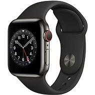 Apple Watch Series 6 40mm Cellular Grafitszínű rozsdamentes acél tok fekete sportszíjjal - Okosóra