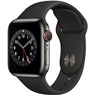 Apple Watch Nike Series 6 44mm Cellular Grafitszínű rozsdamentes acél tok fekete sportszíjjal - Okosóra