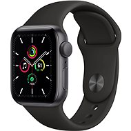 Apple Watch SE 40 mm űrfekete alumínium, fekete sport szíjjal - Okosóra