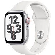 Apple Watch SE 40 mm Cellular Silver alumínium, fehér sportszíjjal - Okosóra