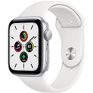 Apple Watch SE 44 mm ezüst alumínium, fehér sport szíjjal - Okosóra