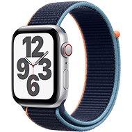 Apple Watch SE 44 mm Cellular Silver alumínium, sötétkék sport szíjjal - Okosóra