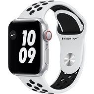 Apple Watch Nike SE 44mm Cellular Ezüstszínű alumíniumtok platinaszín-fekete Nike sportszíjjal - Okosóra
